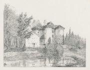 Montaiguet : dessin à la plume  par Roger de La Boutresse, vers 1890